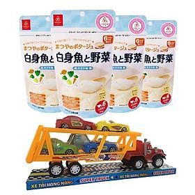 Combo 4 gói cháo gạo koshihikari ăn dặm cá và rau Matsuya – tặng 1 xe container và 4 xe tải