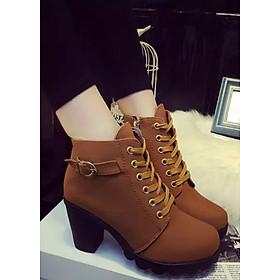 Boot nữ cổ ngắn màu da bò khác lạ GBN2703