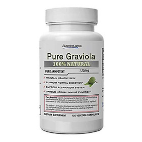 Superior Labs – Pure Natural Graviola NonGMO – 1,200mg, 120 Vegetable Caps– Natural Dietary Soursop Supplement – Healthy Skin & Helps Promotes Cell Growth – Respiratory System - Balanced Mood