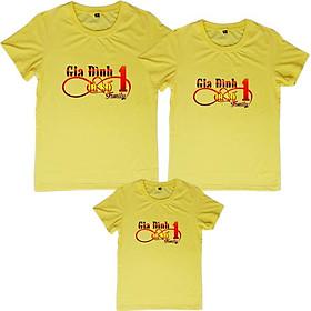 Áo Thun Gia Đình 3 Người Họa Tiết Gia Đình là số 1 Logo Infinity Màu Vàng