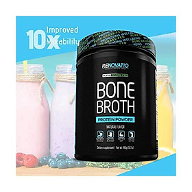 Bone Broth Protein Powder Chocolate - Non-GMO Grass-Fed Collagen Peptides - Monk Fruit Sweetened No Sugar Paleo & Keto Suitable -Dairy Gluten Soy & Corn Free Ancient Form of Nutrition (17.21oz, 488)