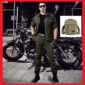 (TẶNG Túi vải bố) Quần áo lính _ Quần Áo Kaki túi hộp phong cách lính Mỹ loại xịn