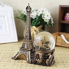 Quả cầu tuyết tháp Eiffel, Quả cầu pha lê tuyết có đèn led và tháp Eiffel - Màu vàng