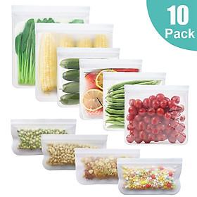 PEVA Food Storage Bags 10 Packs Leakproof Eco-friendly Reusable Food Storage Bags for Vegetable Fruit Snack Lunch
