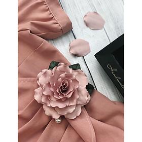 Hoa cài áo handmade Hoa Jasmine gấm hồng tím cánh sóng - màu hồng tím