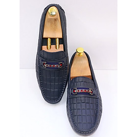 Hình đại diện sản phẩm Giày lười nam da bò khoá ngang GMN9898 - Xanh Đen