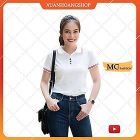 Áo Phông Nữ Dáng Thun Có Cổ Tay Ngắn Đẹp Đủ Màu Trắng Đen Tím Xanh Than Vàng Nâu Vải Cotton Mc Fashion Ap169