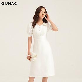 Đầm lá cổ phối nút GUMAC DB162