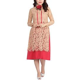 Set Áo Dài Cách Tân Ren Màu Da + Váy Hồng Amun SETAD70