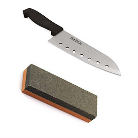 Combo dao nhà bếp Inox có lỗ + đá mài dao kéo nội địa Nhật Bản