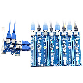 PCI-E X1 to PCI-E X16 Adapter Card PCI-E Converter Card Expansion Card with 4 USB3.0 Ports Desktop Computer Expansion