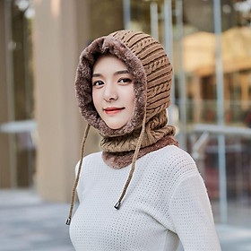 Mũ len kèm khăn choàng cổ giữ ấm thời trang mùa đông cho nữ