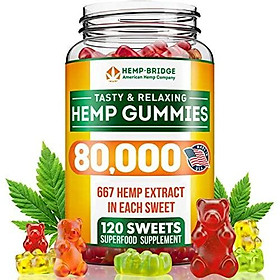 Premium Hemp Gummies - 80,000 Total - Safe and Natural - Made in USA - Relaxing, Stress & Anxiety Relief - Special Blend - Rich in Vitamins B, E,Omega 3, 6, 9 & More