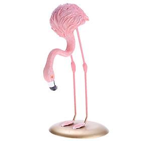 Resin Flamingo Figurine Miniature Sculpture Glass Base Stand Table Ornament