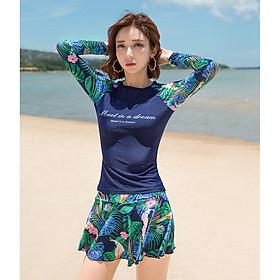 Đồ bơi cho nữ dài tay 2 mảnh chân váy size từ 40kg đến 64kg