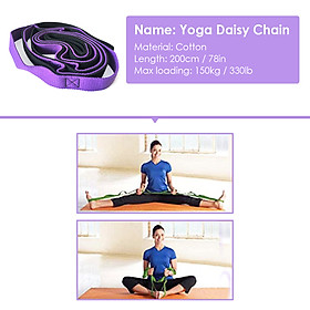 Yoga Daisy Chains Multi-loop Yoga Strap Nonelastic Stretching Band for Pilates Dance Therapy Gymnastics-2