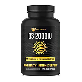 True Recovery Vitamin D3 2000iu (50mcg) Enhanced with Organic Coconut Oil - Supports Immune System Health - Natural , Vegetarian and Non-GMO - 120 Liquid Softgels