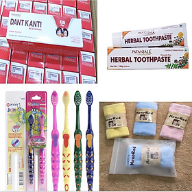 COMBO KHỦNG: Kem đánh răng dược liệu Ấn Độ Patanjali Herbal Toothpaste và kem đánh răng trẻ em tặng khăn mặt nhật và bàn chải đôi trẻ em