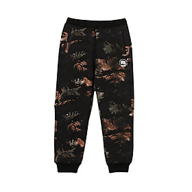Li Ning official flagship store children's clothing children's pants boys trousers men's big children's basketball series sports and leisure fashion closed mouth pants YKLN161-1 black background color leaves camouflage 175
