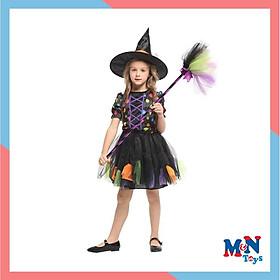 Bộ váy Phù thủy ngắn bảy màu G-0326 hóa trang Halloween cho bé từ 4-12 tuổi
