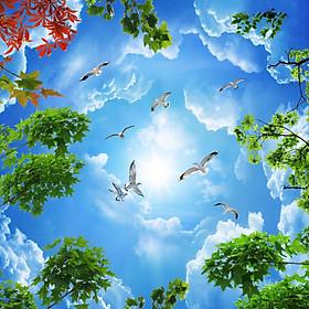 Tranh dán trần 3d bầu trời xanh TN67