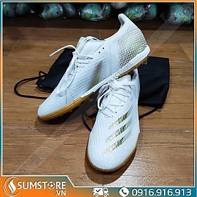 Giày đá bóng cổ thun Xghost Trắng Đồng - Giày đá banh sân cỏ nhân tạo cao cấp (đã may full đế)