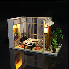 Mô hình nhà DIY Doll House Nhà Cổ Nhật Bản Kèm Đèn LED và Mica chống bụi