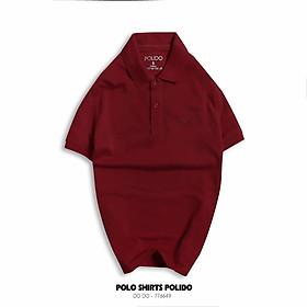 Áo Polo Nam Trơn Thêu Chữ POLIDO Màu Đỏ Đô Vải Cotton Co Giãn Form Slimfit - POLIDO MALL