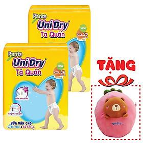 Combo 2 Tã Quần Unidry Ultra Jumbo XXL56 (56 Miếng) - Tặng 1 Thú Bông Dâu Tây Mặt Gấu