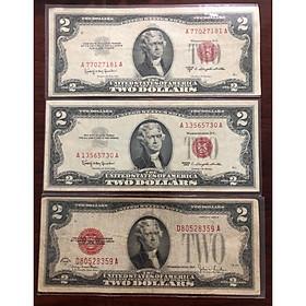 Combo 3 tờ 2 USD 1928, 1953, 1963, mộc đỏ sưu tầm