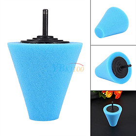 1PCS Foam Polishing Cone Shaped Buffing Pads for Wheels - Use with Power Drill Blue