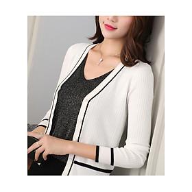 Áo len nữ trắng phối đen xu hướng thời trang 2018