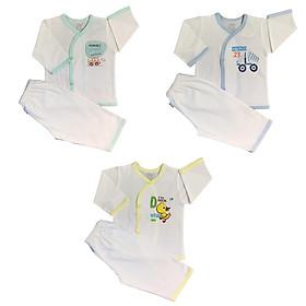 Combo 3 bộ quần áo sơ sinh cotton tay dài trắng cài nút xéo JOU