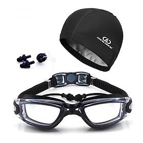 Bộ kính bơi mắt TRONG cao cấp DD66 - gồm Mũ bơi, Bịt tai kẹp mũi chính hãng DONGDONG