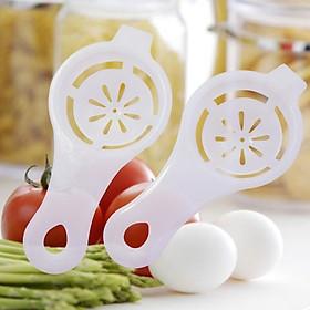 Bộ 2 dụng cụ tách lòng đỏ, lòng trắng trứng gà thông minh, lọc lòng đỏ trứng có thiết kế nhỏ gọn, hỗ trợ làm bếp nhanh hơn - màu trắng