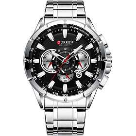 CURREN 8363 Watch for Male Men Quartz Man Wristwatch Watches with Stainless Steel Strap Band Three Sub-Dials Second