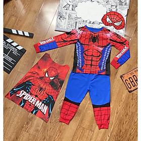 Bộ Đồ Người nhện Spider man Dài Tay In Cơ Bắp Cho Bé Trai (Tặng Kèm Choàng và Nạ)