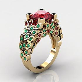 Combo Nhẫn Xoàn Đuôi Công, hợp Nam Nữ Phong Phong cách Châu Âu, chất liệu hợp kim mạ vàng 7.999k, đính 47 viên đá,  Kèm túi đựng Cung Hỷ