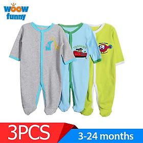 3 cái 0-12 tháng Bộ đồ trẻ em bé trai / bé gái bằng vải cotton nguyên chất dài tay áo liền quần một mảnh Rompers
