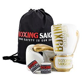 Combo Găng Tay Boxing Saigon + Băng Tay 4m5 (tặng túi rút) -  Trắng