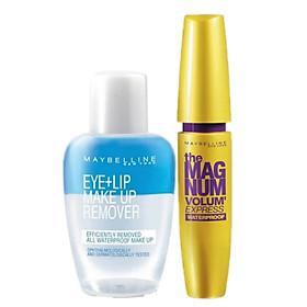 Combo Mascara Maybelline Magnum Làm Dày Mi 10 Lần (9.2ml) Và Nước Tẩy Trang Mắt Môi Maybelline – 40ml