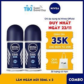 Combo 2 Lăn Ngăn Mùi NIVEA MEN Cool Kick Mát Lạnh (50ml) - 82886