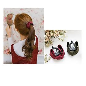 Set 2 kẹp tóc phong cách Hàn Quốc- Kẹp tóc đuôi ngựa- Bộ 2 kẹp tóc nơ xoắn, giao 2 màu khác nhau+ Tặng kèm dây cột tóc, màu ngẫu nhiên