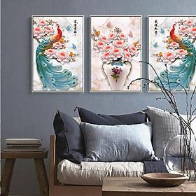 Tranh Canvas treo tường nghệ thuật | Tranh bộ nghệ thuật 3 bức | HLB_096
