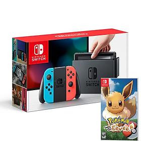 Máy Chơi Game Nintendo Switch Với Neon Blue Kèm Pokemon: Let's Go, Eevee! - Hàng Nhập Khẩu