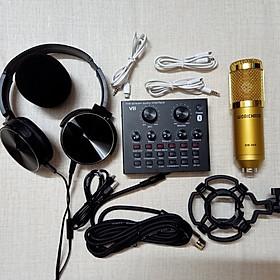 Bộ hát live stream thu âm Sound card V8 bluetooth và mic BM900 Hàng chính hãng  tặng tai phone