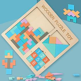 Bảng ghép hình Wooden puzzle toy luyện trí thông minh cho bé