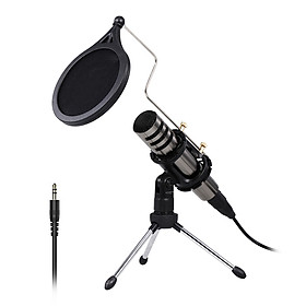 Multifunctional Condenser Microphone Recording Microphone Kit 3.5mm Mobile Phone Computer Karaoke Voice Microphone with