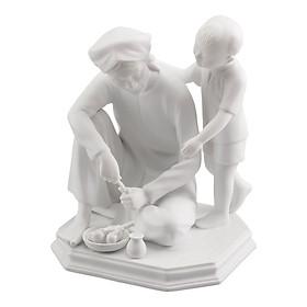 Tượng Gốm Sứ Minh Long Tình Bà Cháu Bắc - Trắng F0015000