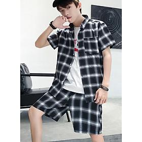 Bộ quần áo sơ mi kẻ caro cộc tay nam ArcticHunter, vải thô mềm mát, thích hợp mùa hè, thời trang trẻ, thương hiệu chính hãng